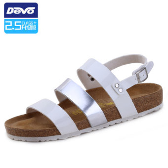 Ulzzang Japanese-style soft wood men Spell color Birkenstock shoes sandals White mirror Silver Mirror