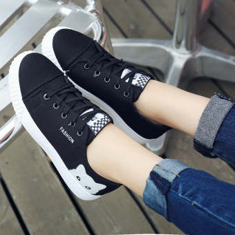 Ulzzang Korean-style female students wind canvas shoes Shoes (Black)
