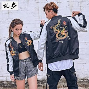 Ulzzang Korean men spring and autumn baseball jacket embroidered JACKET 3155 embroidered dragon jacket black 3155 embroidered dragon jacket black