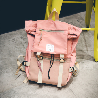 Ulzzang Korean-style men and women couple's student school bag backpack (Orange pink)