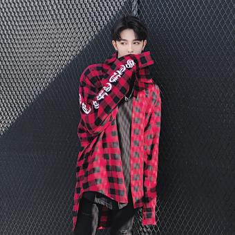 Ulzzang Korean-style men long-sleeved youth lengthened shirt plaid shirt