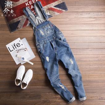 Ulzzang Korean Men Slim fit Jeans denim suspender pants