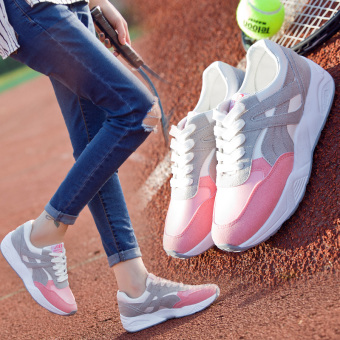 Ulzzang Korean version of Women autumn and winter New style women's shoes athletic shoes (Powder)