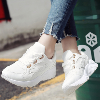 Ulzzang Korean version of Women autumn and winter New style women's shoes athletic shoes (White)