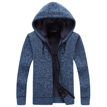 Ulzzang Plus velvet solid color youth men's hooded cardigan sweater Blue