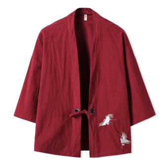 Ulzzang retro embroidered men's Crane kimono cardigan Wine red color
