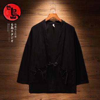Ulzzang retro style Japanese kimono cardigan robe Black