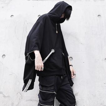 Ulzzang ribbon dark zip Men hooded hoodies
