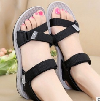 Ulzzang Shishang New style summer student sandals Korean-style sandals (Black)