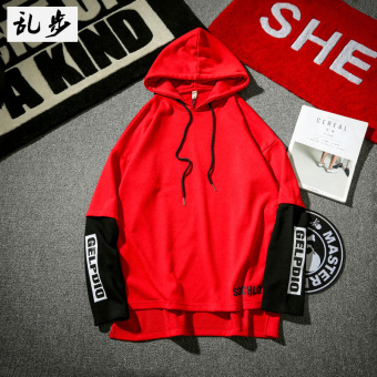 Ulzzang style fake two-piece pullover hooded hoodie (9605 hooded hoodie red)