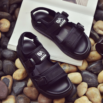 Ulzzang summer men and women sandals New style slippers (Black)