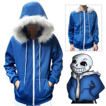 Undertale Sans Skull Cosplay Coat Blue Hoodie Jacket Coat Sweater Costume Hot S-2XL