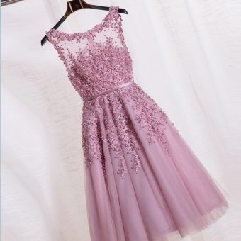 Unique lace dresses Medium length dress Women wedding Bridesmaidsdresses Evening dresses Party dresses Pink dress color - intl