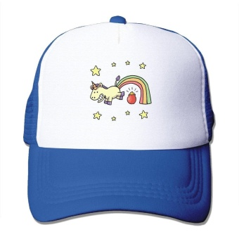 Unisex Unicorn Rainbow Funny Poop Good Vibes Adjustable Mesh HatTrucker Baseball Cap ZMvise - intl