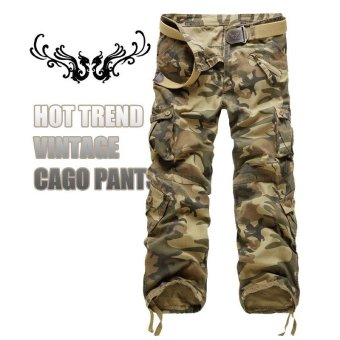 US ARMY Men's Camouflage Pure Cotton Cargo PantsColor:Tohung - intl