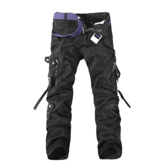 US STOCK Men Casual Military Army CARGO CAMO Combat Work Pants Straight Trousers Black - intl