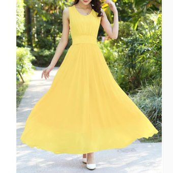 V-neck Sleeveless Bohemian Chiffon Long Dress Beach Dress Yellow - intl