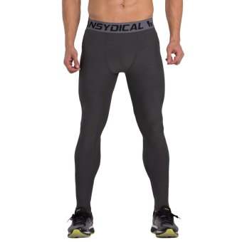 VANSYDICAL Men Compression Pants Leggings Elasticity Quickly Dry Tight Pants Fitness Yoga Pants(Grey)