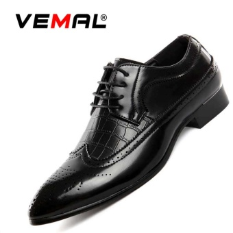 VEMAL Big Size Bullock Men Dress Shoes Wedding Business Vintage Carved Designer Fashion Formal Shoes Genuine Leather Shoes Black - intl