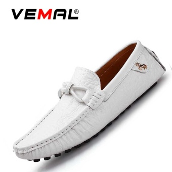 VEMAL Genuine Leather Men's Flats Shoes Moccasin Casual Loafers White - intl