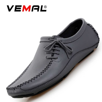 VEMAL Genuine Leather Slip-Ons&Loafers Fashion Casual Leather Shoes For Men Grey - intl