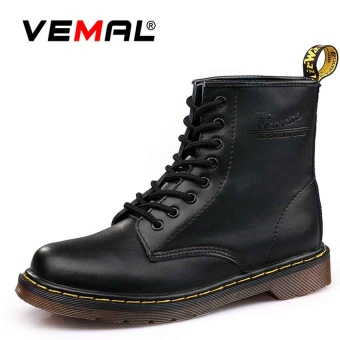 VEMAL Men Genuine Leather High-top Martin Boots Waterproof Ankle Boots Black - intl