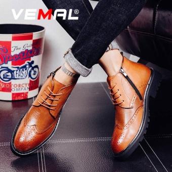 VEMAL Men's Breathable Classic Bullock Leather Shoes Formal Dress Shoes Kasut Lelaki Brown - intl