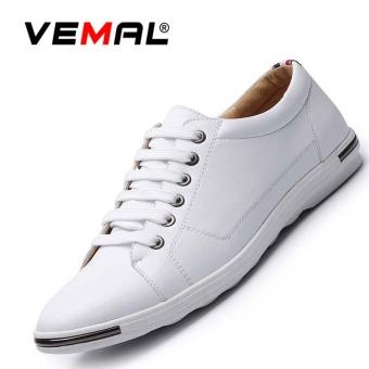 VEMAL Men's Casual Leather Shoes Big Size 38-48 Men Fashion Sneakers Skate Shoes Kasut Lelaki White - intl