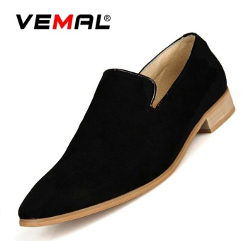 VEMAL Men's Casual Leather Shoes Pointed-toe Dress Shoes Casual Slip-on & Loafers Men Formal Shoes Black - intl