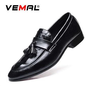 VEMAL Men's Formal Leather Shoes Tassel Oxfords Derbies Slip-on British Style Business Shoes Kasut Lelaki Black - intl