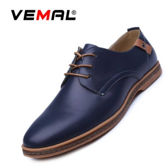 VEMAL Men's Leisure Oxford Dress Shoes Formal Leather Shoes Casual Classic Lace-up Flat Mens Shoes Blue - intl
