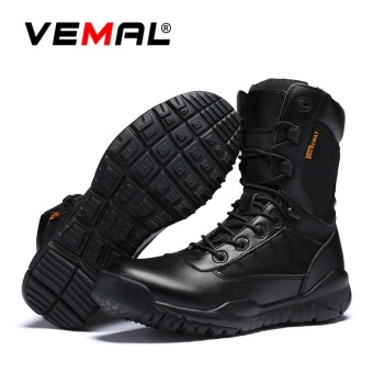 VEMAL Men's Desert Boots & Jungle Boots for Men-Lightweight Lace Up Men Boots Microfiber/Suede Leather Combat Boots Outdoor Military Boots-Tactical Boots Breathable Shoes Black - intl