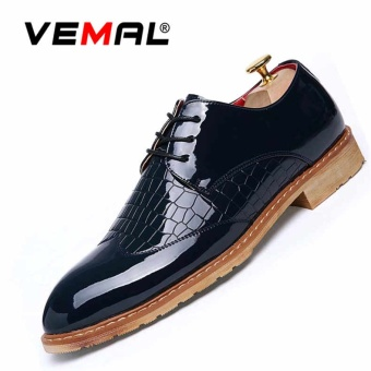 VEMAL Men's Formal Shoes Oxford Business Leather Shoes Lace-up Blue - intl