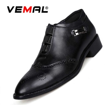 VEMAL New Genuine Leather Men Classic Business Formal Shoes Bullock Style Pointed Toe Retro Men Oxford Dress Shoes Kasut Lelaki Black - intl