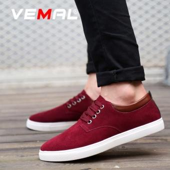 VEMAL Suede Men's Casual Leather Shoes Big Size 38-49 Men Formal Shoes Kasut Lelaki Burgundy - intl