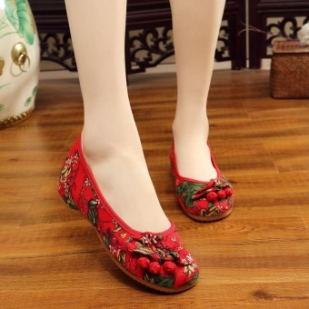 Veowalk Floral Printed Women Canvas Ballet Flats Ladies Casual Slip on Old Beijing Shoes Red - intl