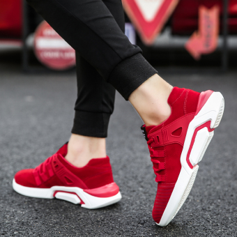 Versatile winter New style mens sports casual shoes men shoes Red Men Sneakers Rubber Shoes