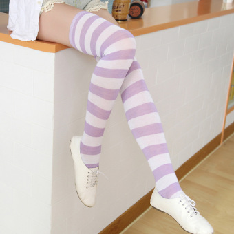 Versatile blue and white female striped knee socks striped socks (White purple thick striped 55 cm)