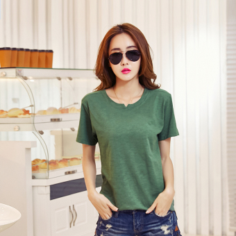 Versatile cotton solid color today T-shirt (Dark green color)