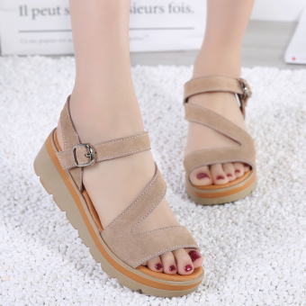 Versatile leather pregnant women's flat sandals Korean-style women's shoes (Brown)