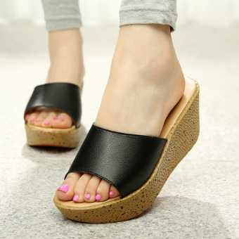 Versatile leather slip outerwear slippers sandals (Black)