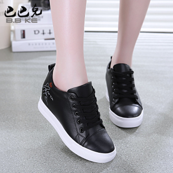Versatile leather Spring and Autumn New style casual shoes autumn shoes (Black leather shoes)
