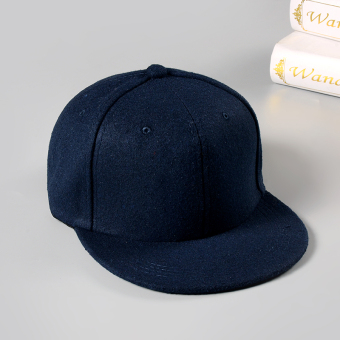Versatile woolen black color for men and women baseball hat duckbill hat (Dark blue color)