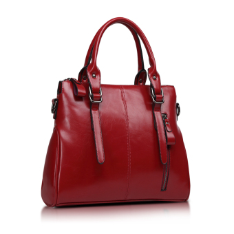 Versitile fashion female handbag women's bag (Wine red color to send carrying wallet + card holder)