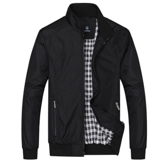 Victory New Men Business Affairs Stand Collar Jacket Youth Casual Large Size Loose Coat Lightweight JacketsBlack - intl