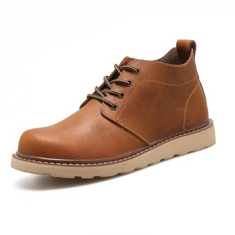 Victory New Trend Men Round head Martin boots Vintage boots Short boots Brown - intl
