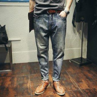 Vintage Color Mens Harlan Jeans Loose Plus Size Jeans Men Pants Waist Range 28 to 42 Casual Hip-hop Japanese Style Leisure Jeans Distressed Jeans - intl