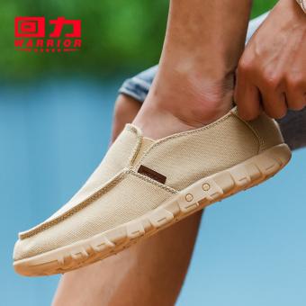Warrior New style autumn Men loafers canvas shoes Khaki Khaki
