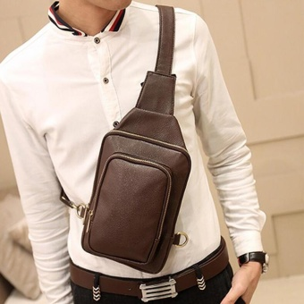 Waterproof Crossbody Bags Shoulder Bags for Men PU Leather Chest Sling Pack One Single Shoulder Man Casual Travel Messenger Bag ( Coffee )17x3x24cm - intl