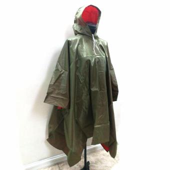 Waterproof Vinyl Raincoat Poncho Open Sided (Dark Green) -10885